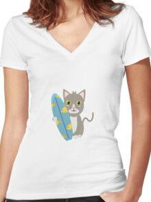 Cat with surfboard   Women's Fitted V-Neck T-Shirt