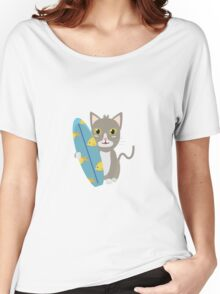 Cat with surfboard   Women's Relaxed Fit T-Shirt