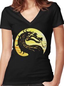 Mortal Kombat Dragon Women's Fitted V-Neck T-Shirt