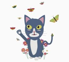 Cat with butterflies   One Piece - Long Sleeve