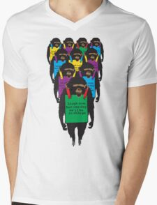 """Chimpanzee - """"Laugh now but someday we'll be in charge"""" Mens V-Neck T-Shirt"""