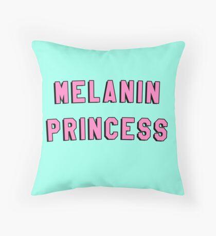 MELANIN PRINCESS   BLACK GIRL MAGIC QUOTE PRINT Throw Pillow