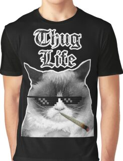 Thug Life Cat Graphic T-Shirt