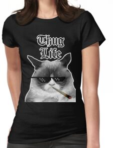 Thug Life Cat Womens Fitted T-Shirt