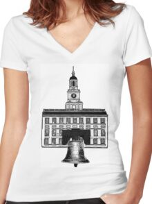 Graphic City of Brotherly Love Women's Fitted V-Neck T-Shirt