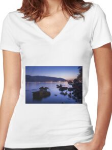 Rocks and Calm Sea Women's Fitted V-Neck T-Shirt