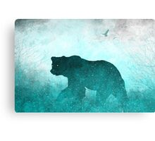 Space Bear Silhouette: Teal Ghost Canvas Print