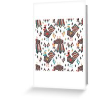 Folk Roosters Greeting Card