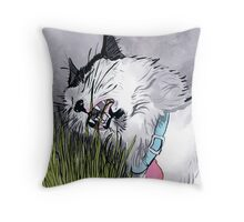 Cat Grass Throw Pillow