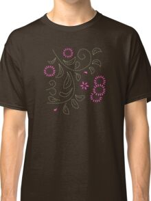 Pink Flower Doodle Classic T-Shirt