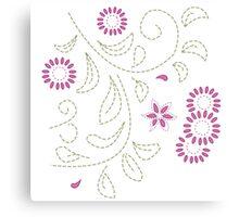 Pink Flower Doodle Canvas Print