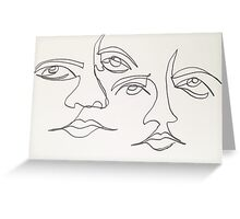 One Line Two Faces Greeting Card