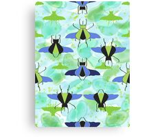 Flying Rhino and Staghorn Beetles over Blue and Green Canvas Print