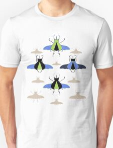 Flying Rhino and Staghorn Beetles over Blue and Green Unisex T-Shirt