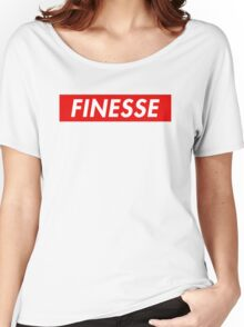 Finesse   Box Logo   Striped   White Background   High Quality! Women's Relaxed Fit T-Shirt