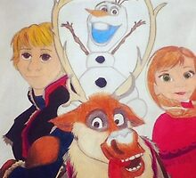 Drawing of Olaf,Sven,Anna,and Kristoff by 14horseygirl