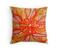 Reclining  in Orange and Red Florals  Throw Pillow