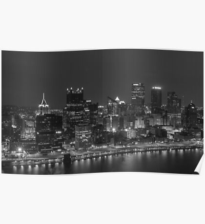 Downtown Pittsburgh Skyline - Black & White Poster
