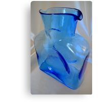 Vintage Blenko Water Bottle In Blue Canvas Print