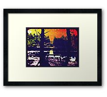 A bench by the lake Framed Print