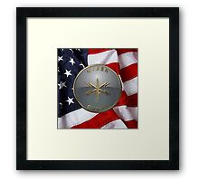 U.S. Army Cyber Corps - Branch Plaque over American Flag Framed Print