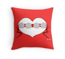 Red Studded Rose Heart Design by Kat Worth Throw Pillow
