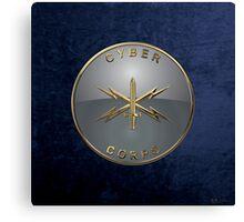 U.S. Army Cyber Corps - Branch Insignia Blue Velvet Canvas Print