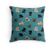 Pug Puppies and Bones on Teal Plaid Throw Pillow