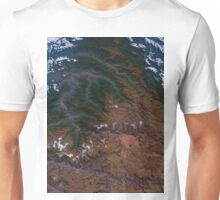 Machu Picchu and the Andes Mountains of Peru Satellite Image Unisex T-Shirt