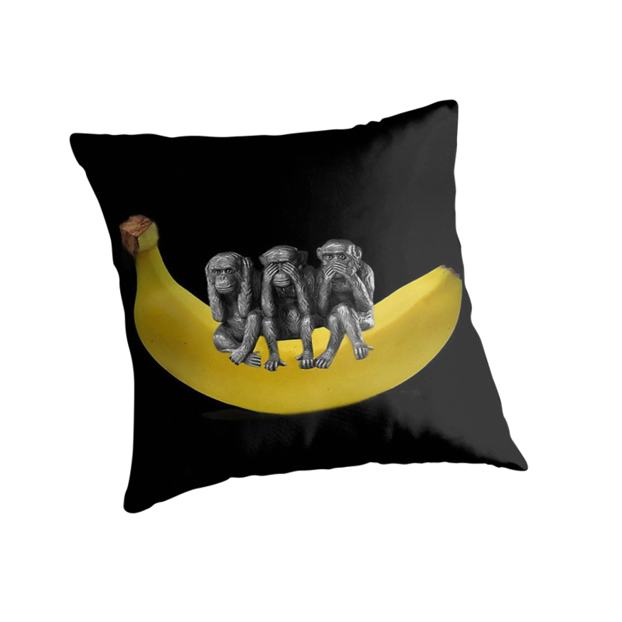 ❤‿❤ MONKEYS SIGN LANGUAGE SITTING ON BANANA THROW PILLOW & TOTE BAG ❤‿❤ by ╰⊰✿ℒᵒᶹᵉ Bonita✿⊱╮ Lalonde✿⊱╮