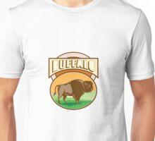 American Bison Buffalo Oval Woodcut Unisex T-Shirt