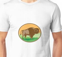 American Bison Oval Woodcut Unisex T-Shirt