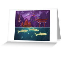 Junk Ship and Glow Sharks Greeting Card