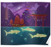 Junk Ship and Glow Sharks Poster