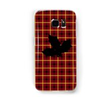 Red Tartan Plaid with Holly Silhouette Samsung Galaxy Case/Skin