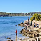 Rock fishing in the Coffin Bay Channel by Ian Berry