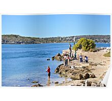 Rock fishing in the Coffin Bay Channel Poster