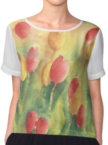 Red and yellow tulips Chiffon Top