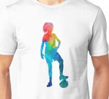 Woman soccer player 10 in watercolor Unisex T-Shirt