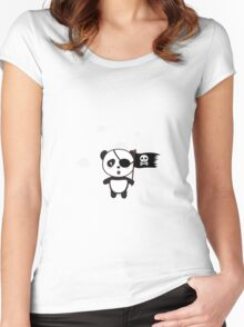 Pirate Panda with Flag Women's Fitted Scoop T-Shirt