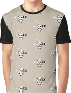 Pirate Panda with Flag Graphic T-Shirt