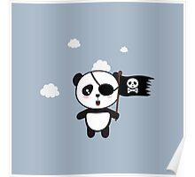 Pirate Panda with Flag Poster
