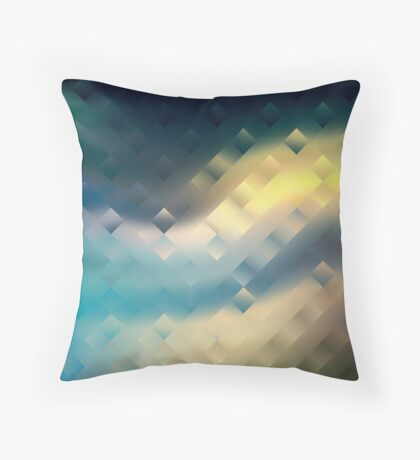 Abstract pattern blue green yellow. Throw Pillow