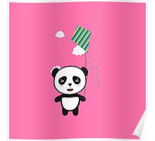 Panda with colorful kite Poster