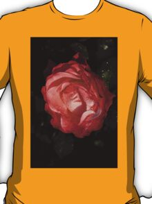 A Wonderful Cream-and-Red Rose With Dewdrops T-Shirt