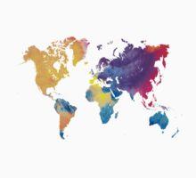 World map in watercolor 22 Kids Tee