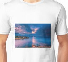 The sun breaks through at Cala d'Enmig Unisex T-Shirt