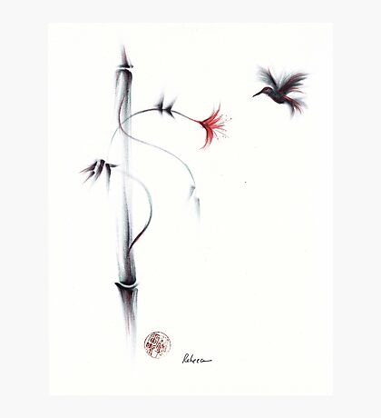 Sweetness - Hummingbird & Flower Painting Photographic Print