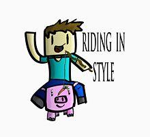 Minecraft Steve Rinding a Pig! T-Shirt