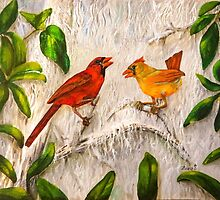 Cardinal birds - Singing of love by Zina Stromberg